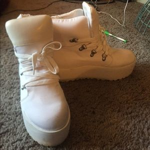 All white platform shoes, only worn once